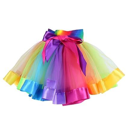 7759404fdd8d Moresave Bambina Arcobaleno Tutu Pet Pannello Esterno del Corpo del Partito  Palestra Balletto Body Usura Vestito da Ballo  Amazon.it  Sport e tempo  libero