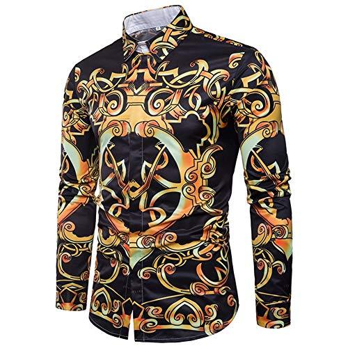 - Yffksse Long Sleeve Men Shirt/Cotton Blend/Abstract Unique Pattern Printed/Casual Slim Fit Blouse,XXL