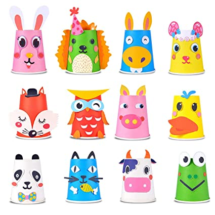 Amazon Com Here Fashion Paper Crafts And Arts Kit 12 Pack Animal