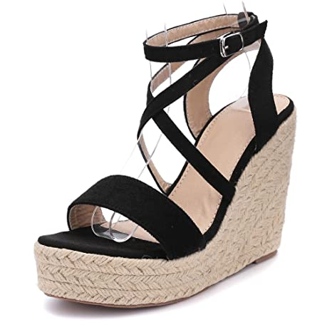 5ec8bbba0180 Women Roman Shoes Open Toe Sandals Wedges Belt Cross-Strap Beach Shoes  (Balck,