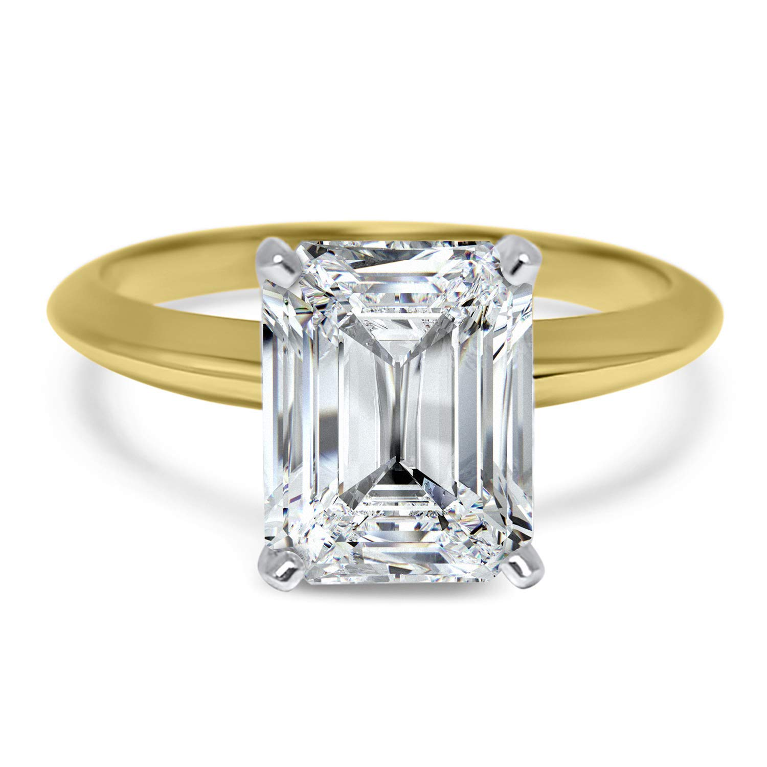 Amazon Com 2 Carat Forever One Colorless Emerald Cut Solitaire Moissanite Engagement Ring 14k Yellow Gold Handmade
