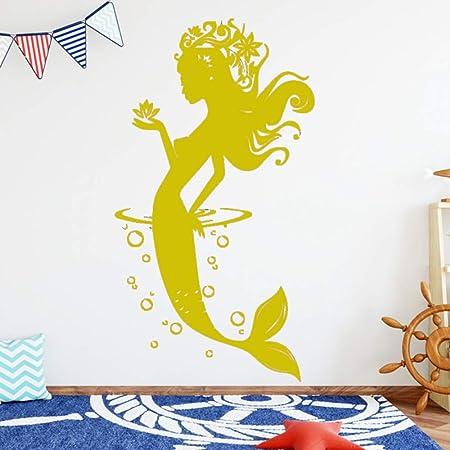 jiuyaomai Creative Mermaid Wall Sticker Tatuajes de Pared ...
