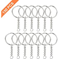 """NANSSY 150 Pcs 1""""/25mm Metal Key Split Chain Ring with Chain Silver Key Ring, Key Chain Ring Parts, Open Jump Ring and Connector"""
