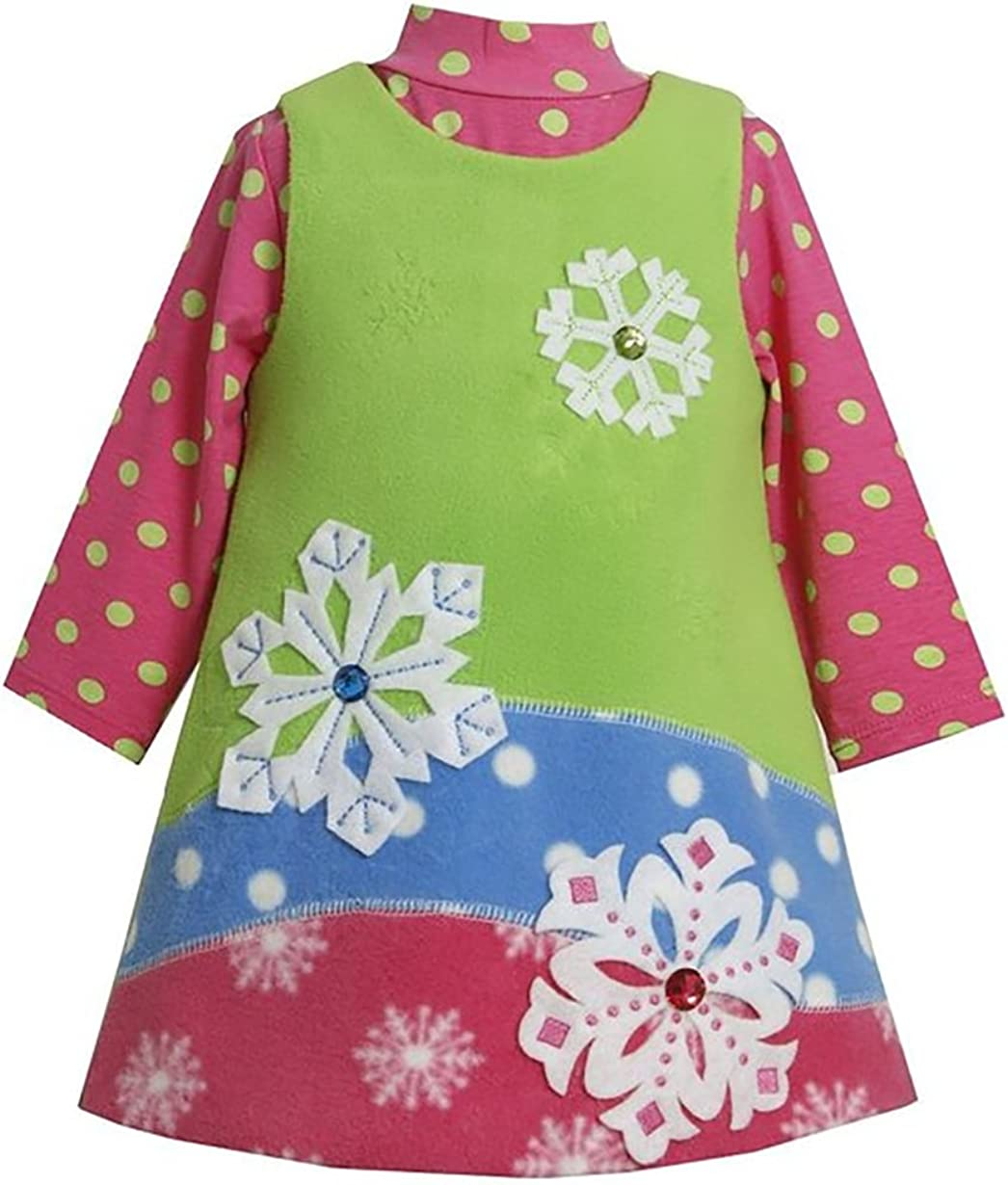 Bonnie Jean Girls Snowflake Christmas Holiday Jumper Dress Set, Green, 4-6X