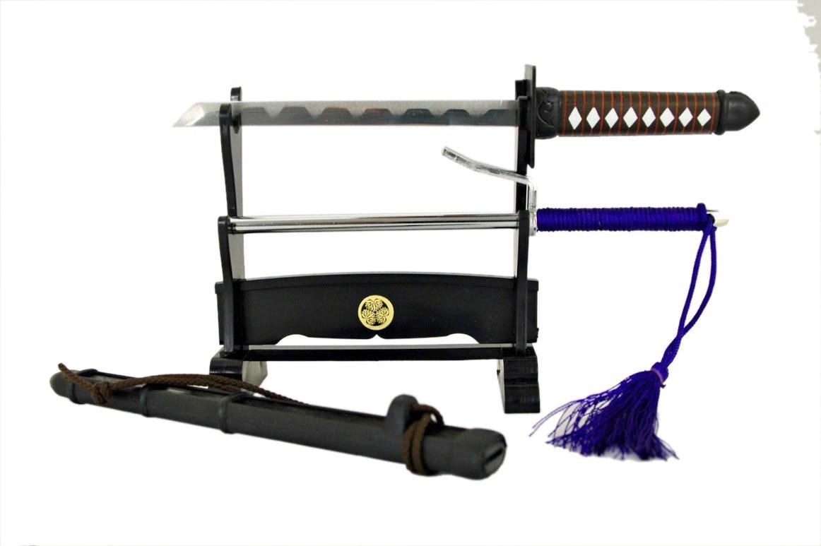 1760 Japanischer Brief/öffner Ninja Katana und Jitte mit St/änder Model Nr
