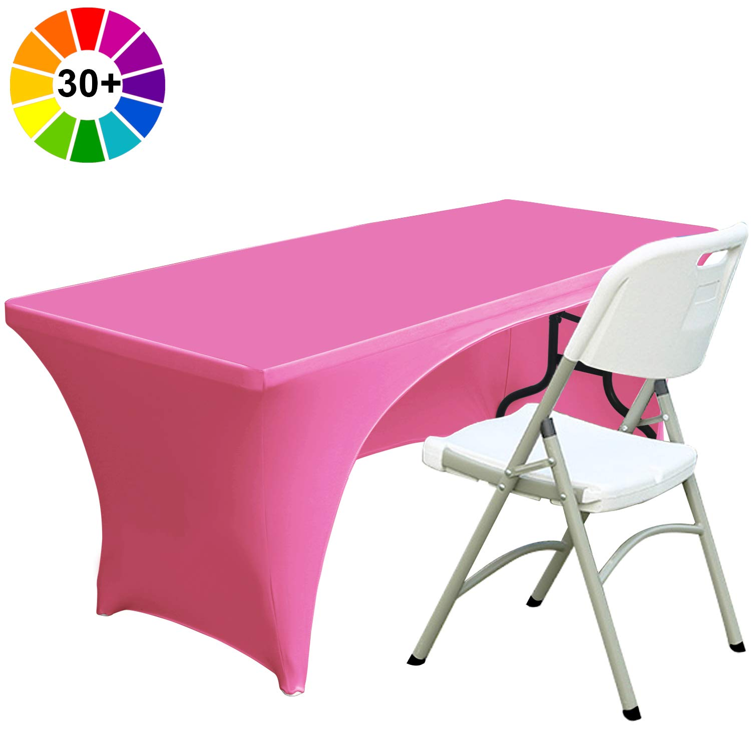 Fitted Polyester Tablecloth Stretch Spandex Tablecover-Table Toppers Open Back Black Colors Spandex Table Cover 6 ft ABCCANOPY 30