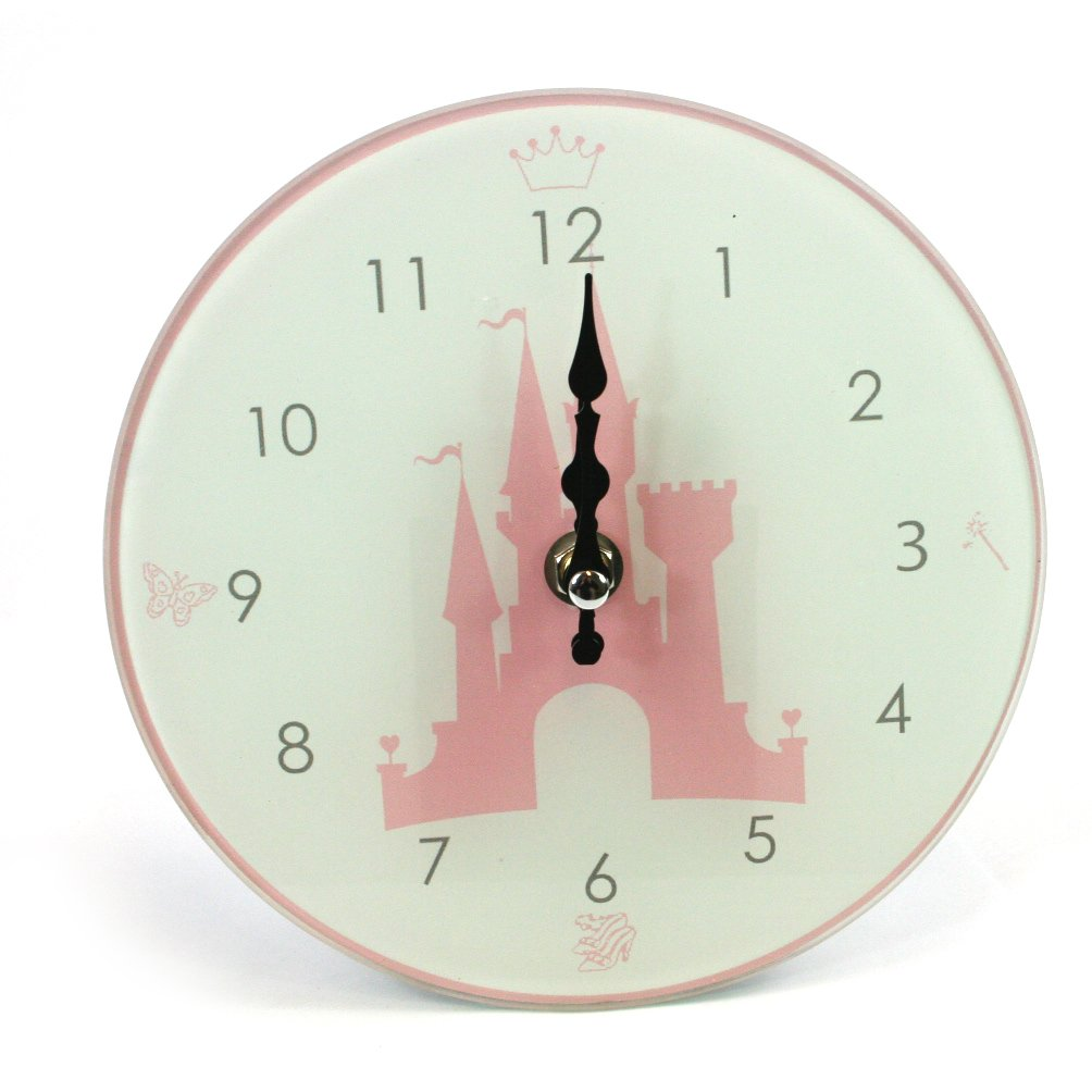 Girls Princess Pink Castle Glass Wall Clock Nursery Leonardo