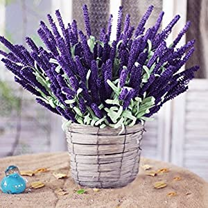 Sunm boutique 6 Pcs Artificial Flowers Flocked Plastic Lavender Bundle Plants Wedding Bridle Bouquet Indoor Outdoor Home Kitchen Office Table Centerpieces Arrangements Decor 5