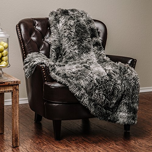 Chanasya Super Soft Shaggy Fuzzy Fur Fluffy Faux Fur Warm Elegant Cozy with Sherpa Color Variation Pattern Print Dark Gray Microfiber Throw Blanket (50