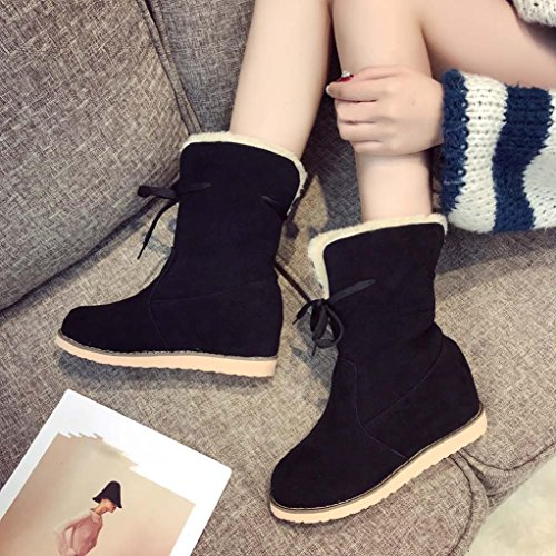 ESAILQ Women Lady Low Wedge Biker Ankle Trim Flat Ankle Warm Martin Boots Shoes Black Kg78QvcDrt
