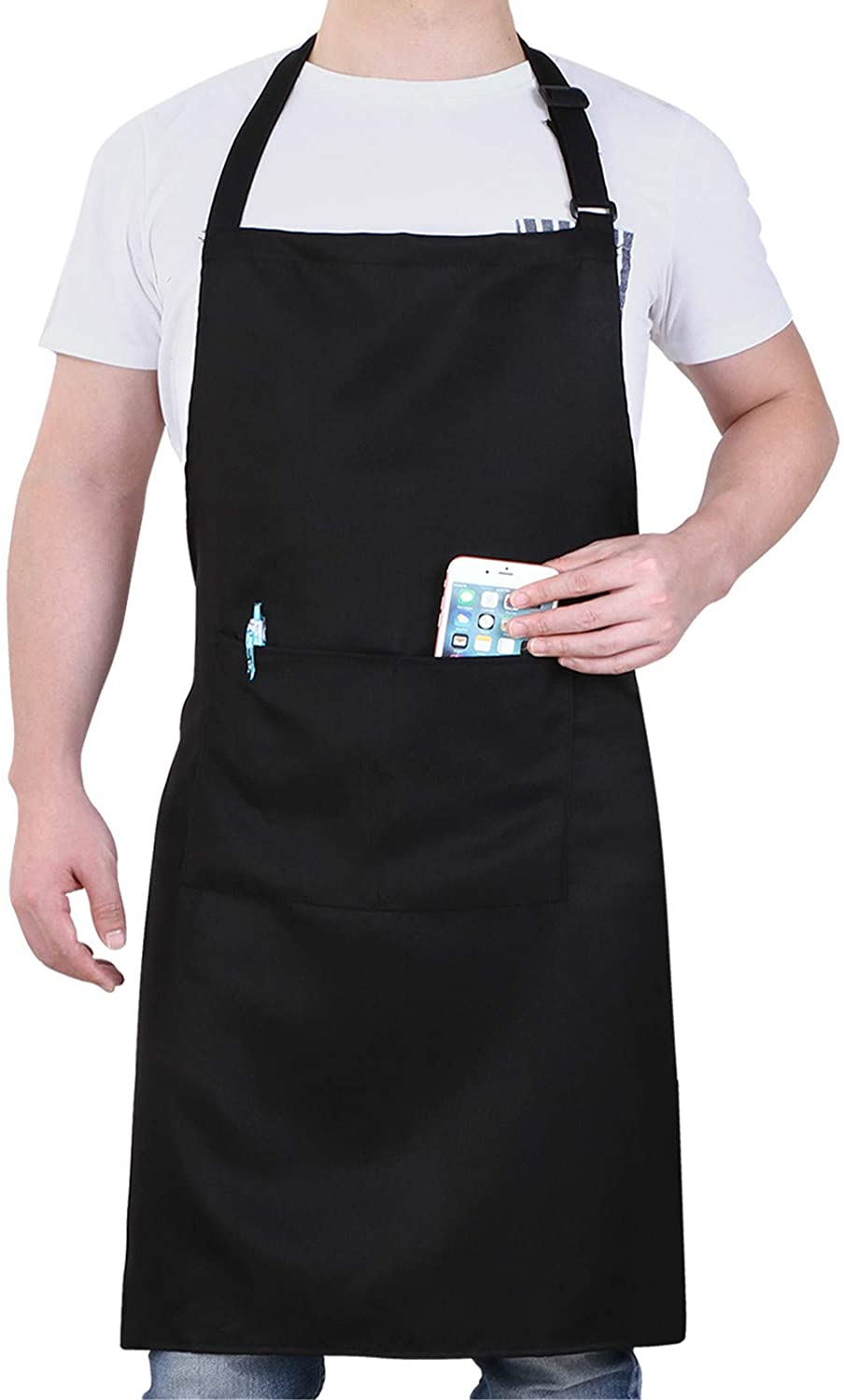 Will Well Adjustable Bib Aprons, Water Oil Stain Resistant Black Chef Cooking Kitchen Aprons with Pockets for Men Women (1 Pack): Kitchen & Dining