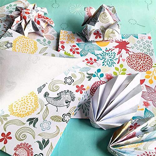 Vommpe Origami-Papier gemustert Blumen V/ögel DIY Zubeh/ör f/ür Papierkran Papierbastelpapier Faltpapier 10 x 10 cm