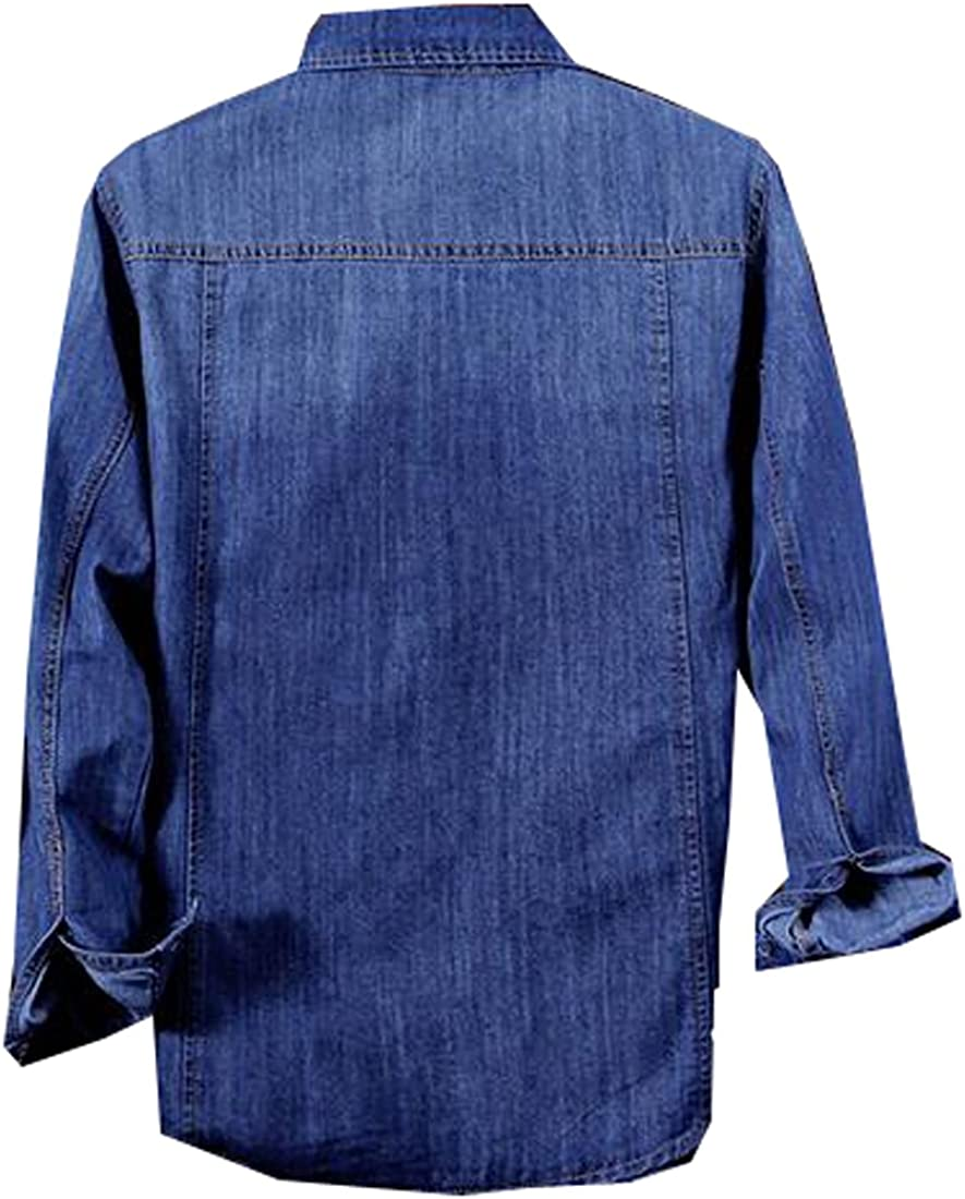 Fubotevic Men Casual Long Sleeve Button Front Cargo Denim Work Shirt with Pockets