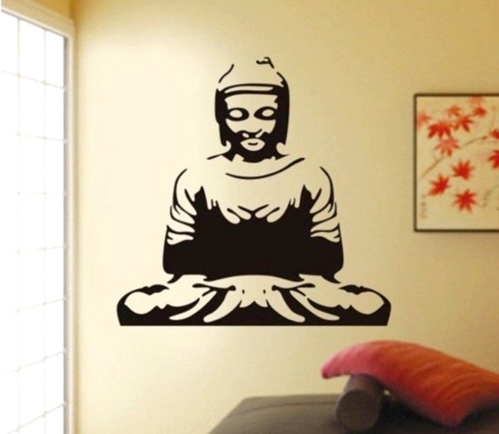 Buy Decals Design U0027Meditating Buddhau0027 Wall Sticker (PVC Vinyl, 50 Cm X 70  Cm, Black) Online At Low Prices In India   Amazon.in