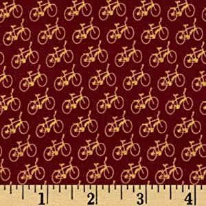 44'' Wide Mini Print Vintage Bicycles Red Fabric By The Yard