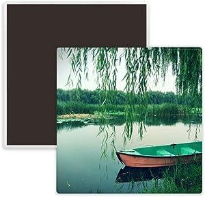 Willow Leaf Boat Lake Photography Square Ceramics Fridge Magnet Keepsake Memento