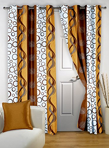 Story@Home Nature Basic Polyester Geometrical Eyelet 2 Pieces Door Curtains, 7 ft, Brown