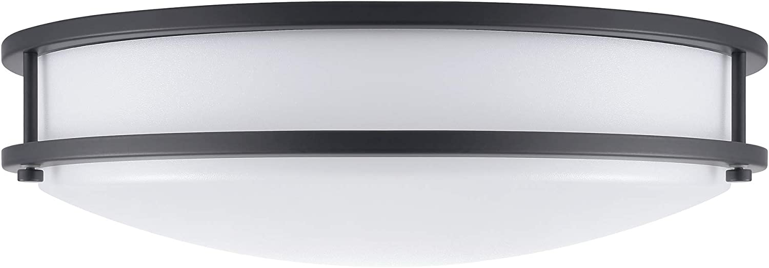 (1 Pack) 14-Inch Double Ring Dimmable LED Flush Mount Ceiling Light, 22W (100W Equivalent), 1800lm, 4000K Natural White, Bronze Finish with Plastic Shade, ETL Listed, Commercial or Residential