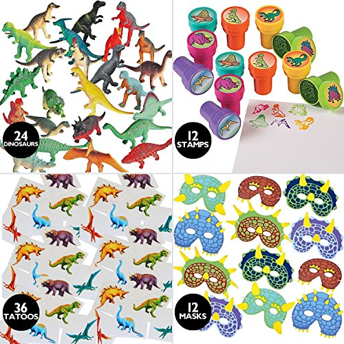 84 Piece Kids Dinosaur Toy Kit - Includes Mini Figures, Masks, Stamps, And Sticker Tattoos (Great As Dinosaur Party Supplies & Dinosaur Party Favors) -