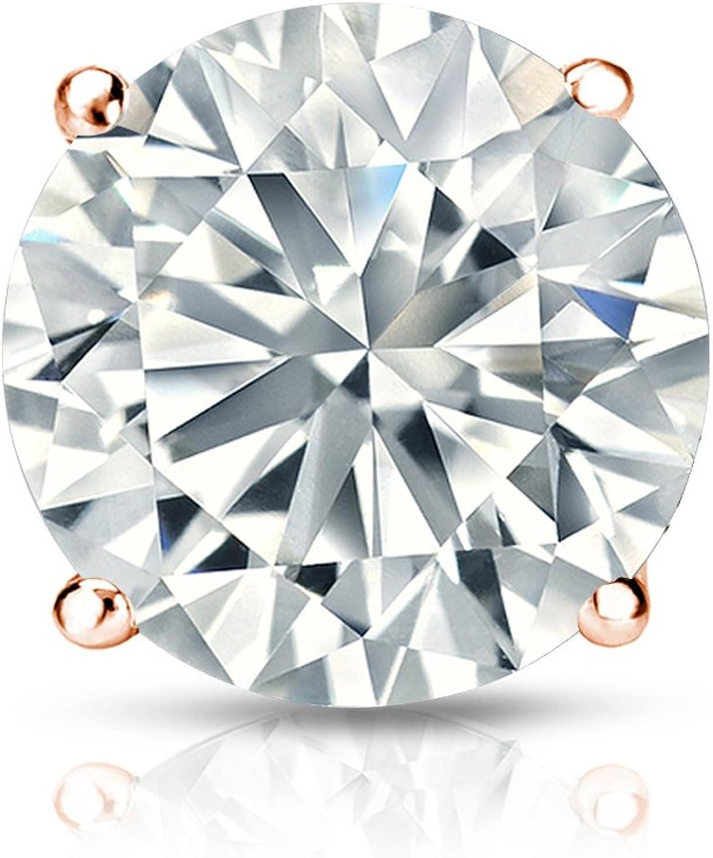 14k Gold Round SINGLE Diamond Stud Earring (1/8cttw, J-K, I2-I3) 4-Prong Basket set with Push-back Diamond Wish