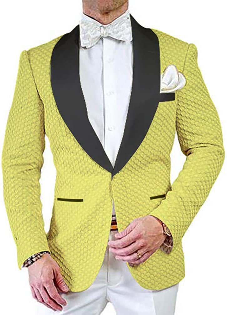 Premium Jacquard Paisley Floral Pattern Slim Fit Tuxedo Prom Wedding Groom Single Breasted Blazer Suits