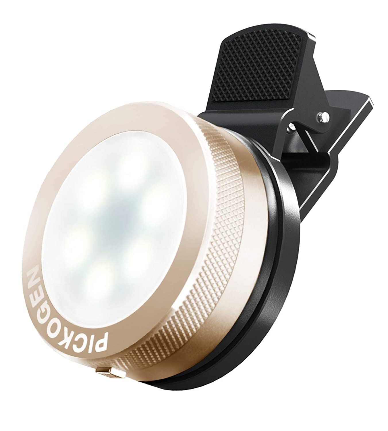 Premium Aluminum Alloy Plated for Photo and Video Universal Clip-On Mini LED Light Selfie Portable Pocket Spotlight Clip Gold V-8 External LED Creative Lightning Kit