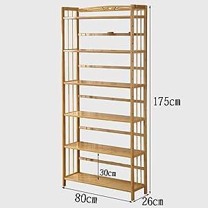PLLP Wall-Mounted Decorative Racks,Shelving Multi-Function Rack Bamboo Bookshelf Bookcase Rack Storage Display Shelves for Home Office,6-Tier 80Cm