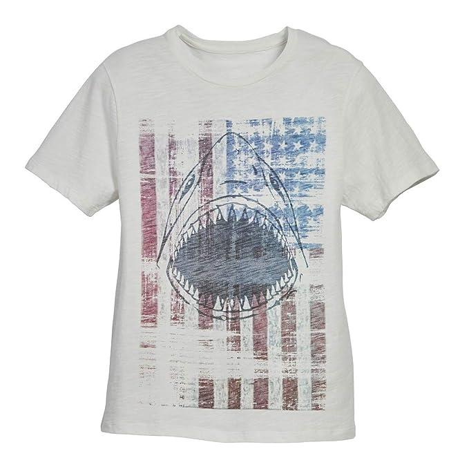 bb8611e8002f Amazon.com  Beachcombers Boys Shark Head On Faded Flag Tee Shirt ...
