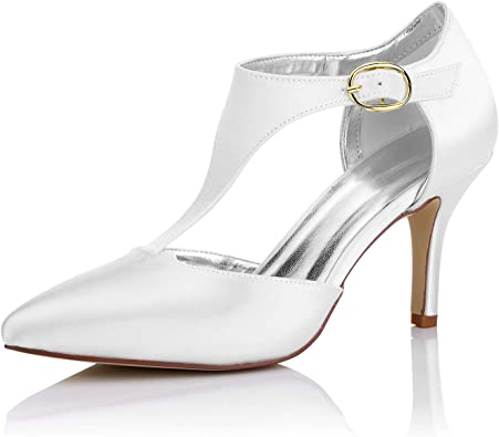 Amazon Com Jiajia K16215 Women S Bridal Shoes Closed Toe Mid