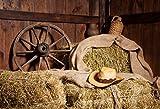 Leyiyi 7x5ft Photography Background Retro Wooden Barn Cart Wheel Hay Hat Pot Farmhouse Cabinet Coutry Life Cowboy Photo Portrait Vinyl Studio Video Shooting Prop