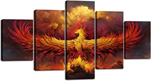 Yatsen Bridge Fire Phoenix Canvas Painting 5 Panels Burning Phoenix Wall Art Vintage Pictures Print Poster Artwork Home Decor for Living Room Bedroom Office Giclee Framed Stretched (60''Wx32''H)