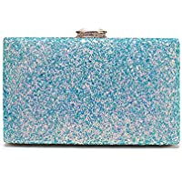 Minicastle Women's Elegant Sparkling Glitter Evening Clutch Bags BlingEvening Handbag Purses For Wedding Prom Bride(Light Blue)