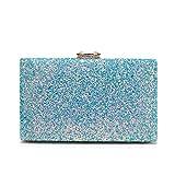Minicastle Women's Elegant Sparkling Glitter Evening Clutch Bags BlingEvening Handbag Purses For Wedding Prom Bride(Light Blue)