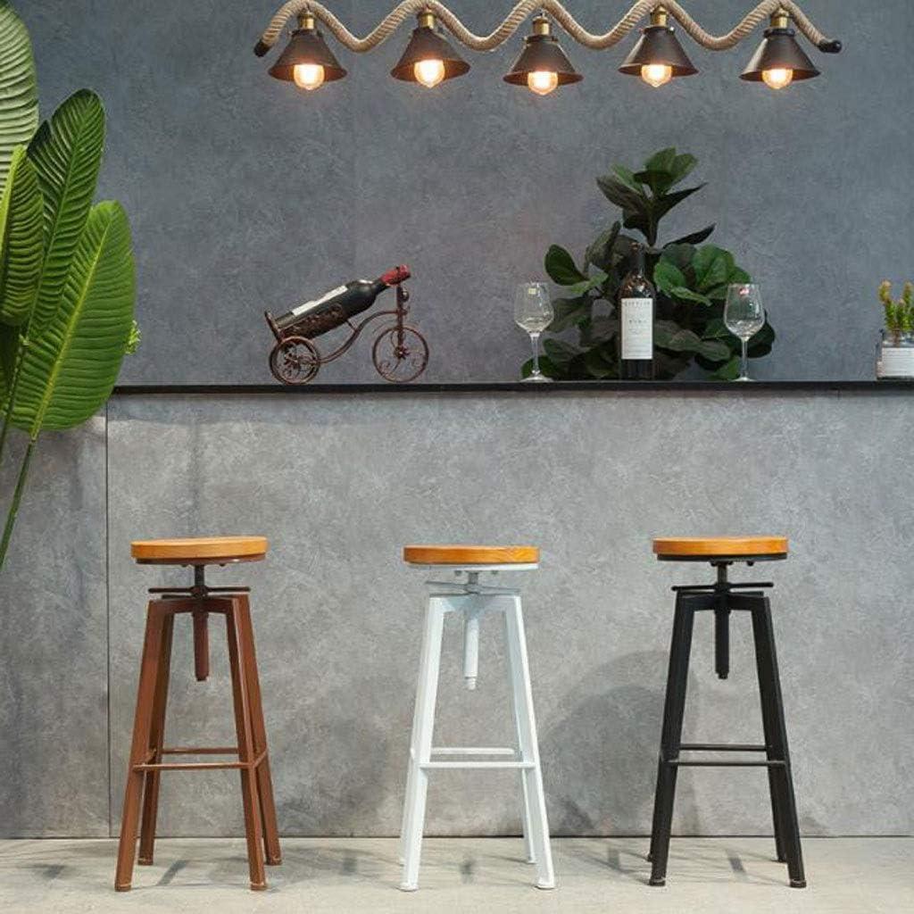 XQAQX kruk barkruk industriële metalen stijl vintage hout in hoogte verstelbaar stool B