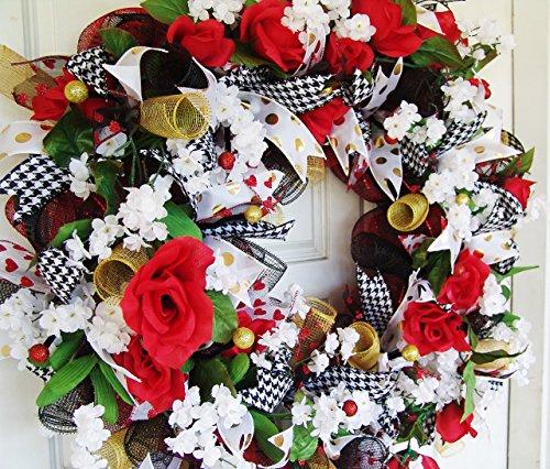 XL Romantic Red and Black Floral Deco Mesh Front Door Wreath, Porch Patio Yard Art, Garden, Unique Gift Idea, Spring Summer, Wedding Decor
