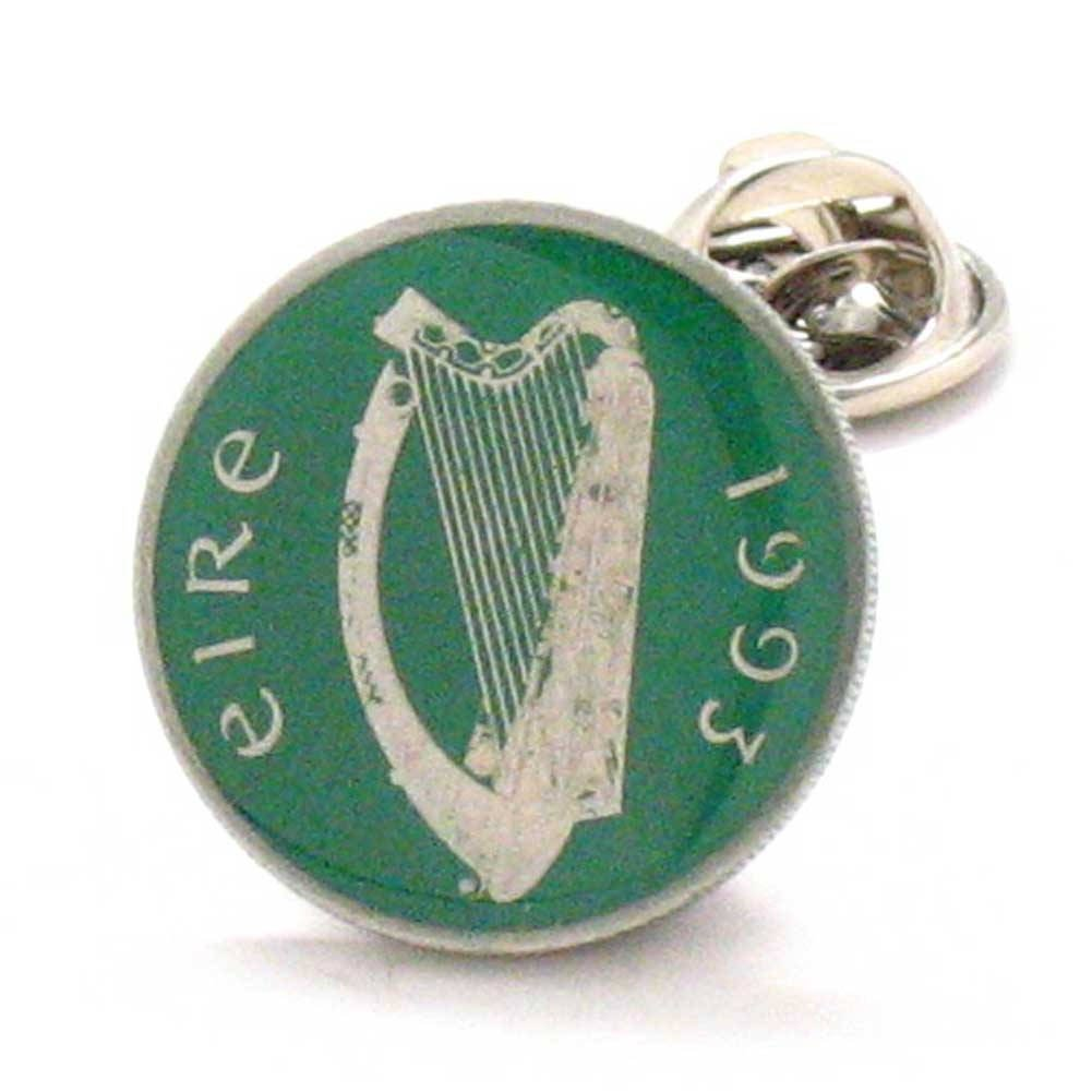 Irish Coin Tie Tack Lapel Pin Ireland Hand Painted Lucky Green St. Patrick's Day Luck Éireann Bioráin Dublin Williams Manufacturing