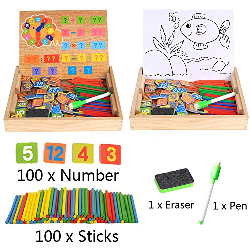 Kids Montessori Math Board Games Wooden Counting Toys Digital Magnetic Box Drawing Easel Writing Chalkboard with 100pcs Counting Sticks 100pcs Number Cards Clock