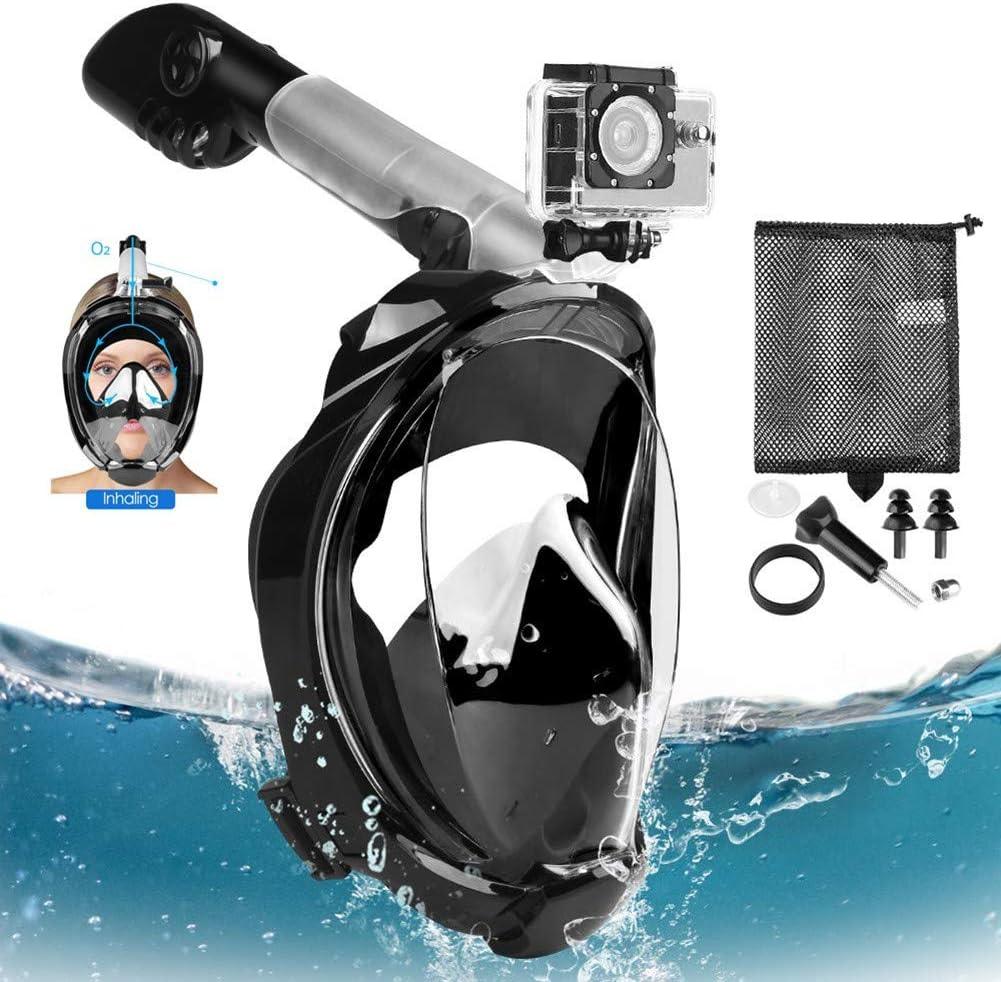 TENT-Z Proteccion de radiacionMáscara de Buceo Mascara de Esnorquel Antivaho para esnórquel de Cara Completa Flujo de Aire circulante y Vista Clara de 180 ° Máscara de Buceo Antifugas