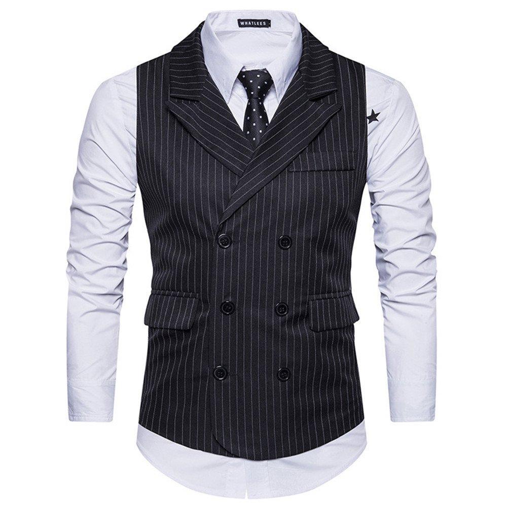 Männer im Anzug, Anzug, Weste, Weste, gestreiften Zweireiher Weste,schwarz,m