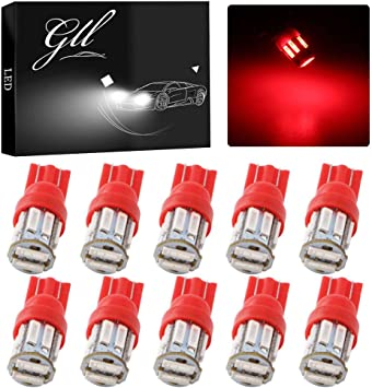 Trunk Dome License Plate Lights Red 10Pcs LED Interior Package T10 168 Map