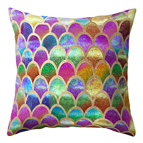 Meiyuan Mermaid Fish Scales Throw Pillow Case Bed Sofa Cushion Cover Living Room Home Decor