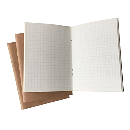 49876134ce5f (Set of 3) Travelers Notebook Inserts Passport Size, 32 Sheets Each Book,  100gsm Graph Paper