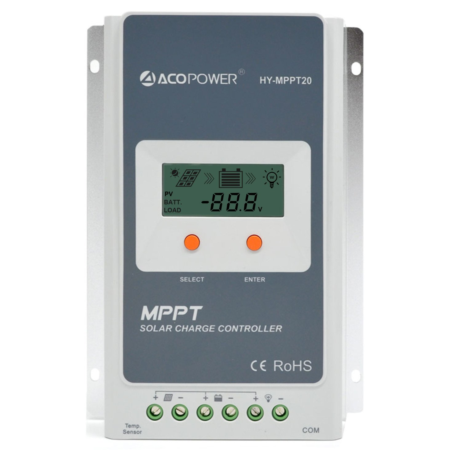 ACOPOWER 20A MPPT Solar Charge Controller 100V Input MPPT20 A with LCD Display