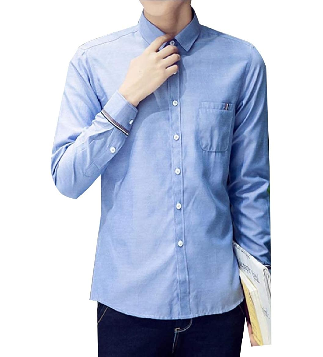 YUNY Men Business Slim Fitting Oversized Classic Solid Western Shirt Lake Blue S