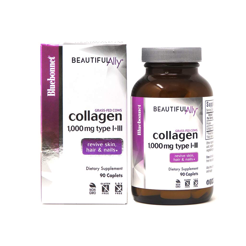 Bluebonnet Nutrition Beautiful Ally Collagen Caplets, Hydrolyzed Collagen from Grass Fed Cows, Collagen Peptides Type 1 & 3, Non GMO, Gluten Free, Soy Free, Milk Free, 90 caplets, 90 Day Supply