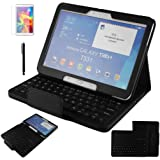 Continu® Black Bluetooth Keyboard (QWERTY) Litchi Grain PU Leather Protective Case with Support Function Wireless Detachable Bluetooth Keyboard Stand Case Cover for Samsung Galaxy tab 4 10.1 inch SM-T530 / T531 / T535 + 1x Free Screen Protector + 1x Free Touch Pen--Black
