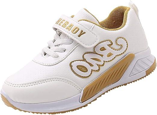 FBGood - Zapatos de Deporte para bebé, Ultra Ligeros, para niños, Informales, Antideslizantes, Zapatillas de Correr Transpirables, Blanco, 30: Amazon.es: Hogar