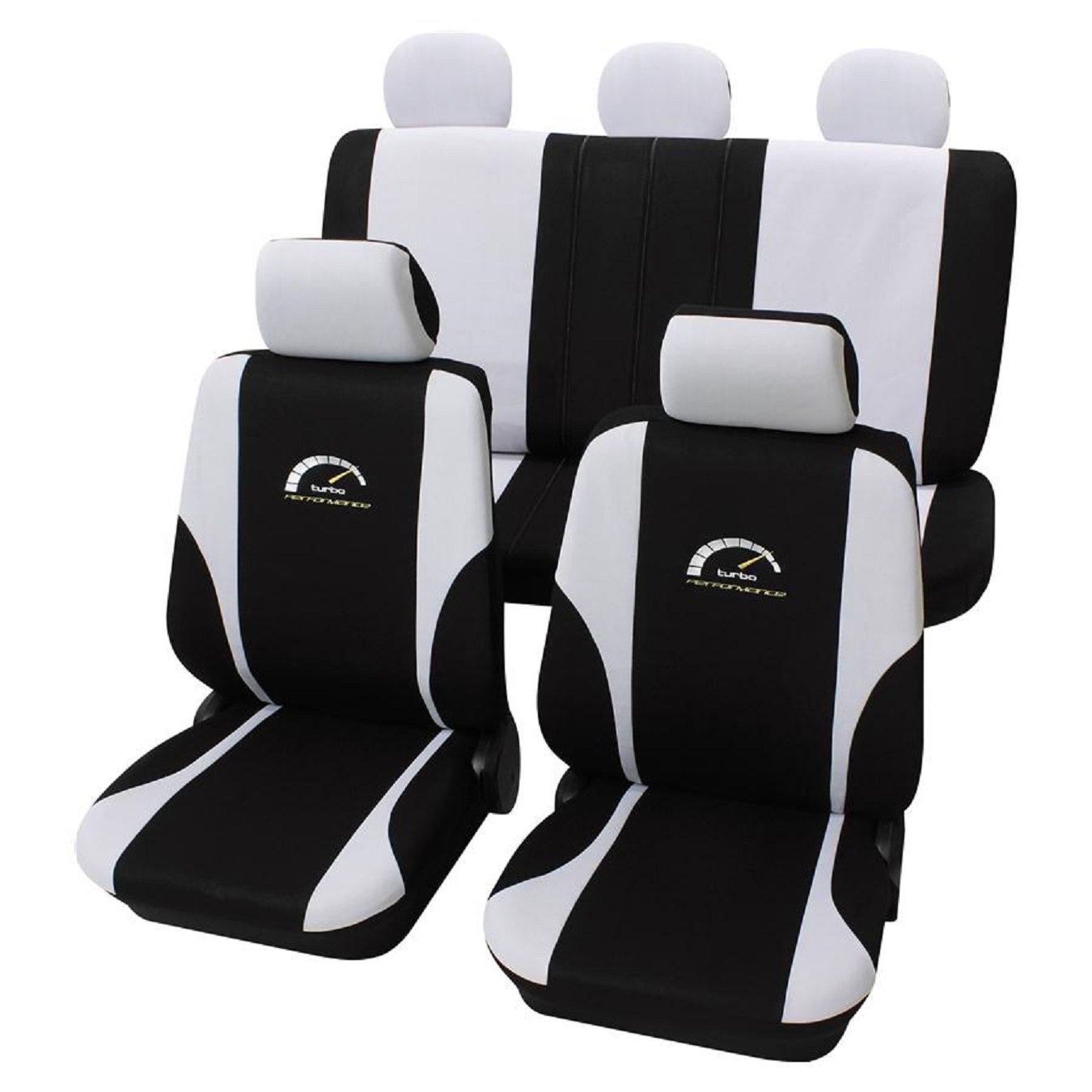 Amazon.es: Fundas de asiento Eco Class Turbo (11 piezas), color negro y blanco