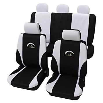 Amazon.es: Fundas de asiento Eco Class Turbo (11 piezas), color negro y blanco