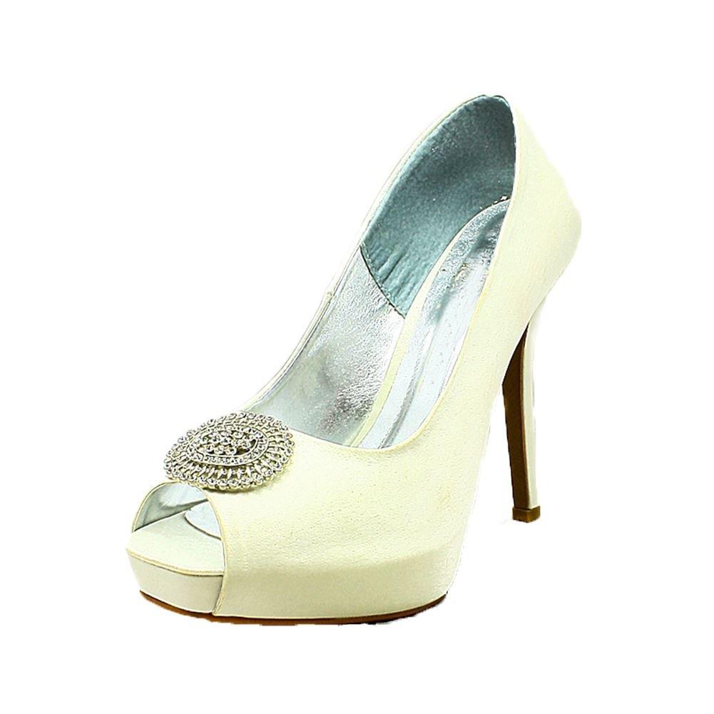 Satén de las señoras zapatos de la boda del dedo del pie del pío plataforma oculta con gran broche 36|Ivory